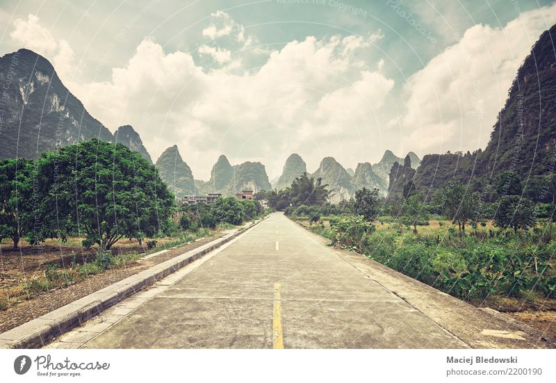 Countryside road, China. Vacation & Travel Trip Adventure Freedom Sightseeing Expedition Camping Nature Landscape Clouds Tree Street Far-off places Retro Green