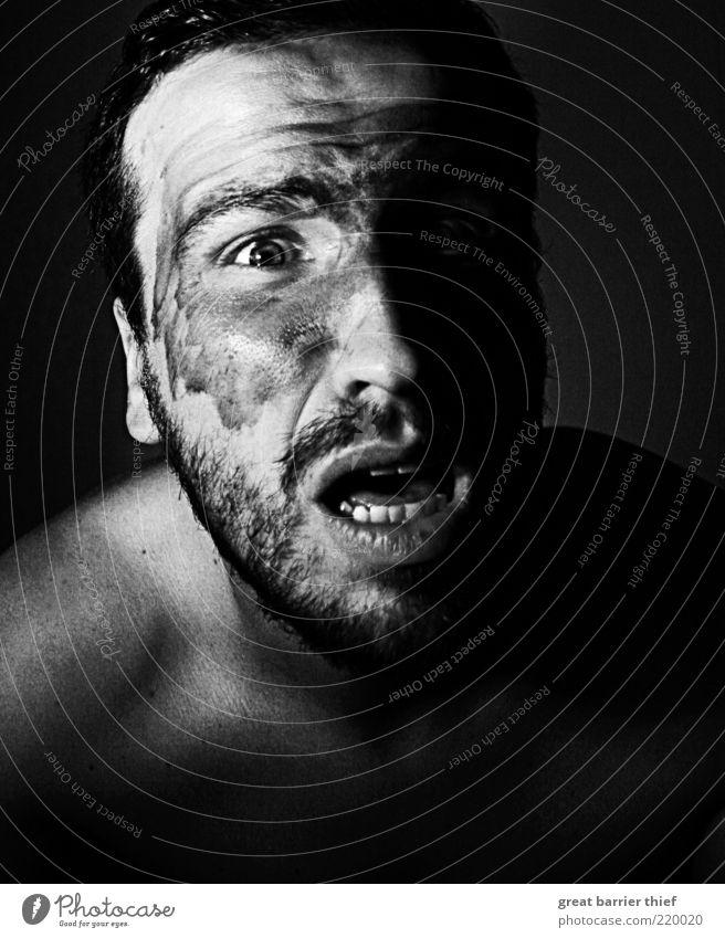 man war paint fear Human being Masculine Man Adults Skin Head 1 30 - 45 years Facial hair Scream Hideous Crazy Aggression Hatred Fear Frightening Dread Distress