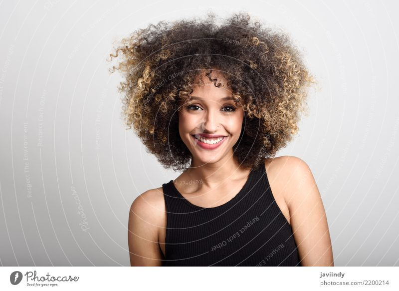 Young black woman with afro hairstyle smiling. Style Happy Beautiful Hair and hairstyles Face Human being Feminine Young woman Youth (Young adults) Woman Adults