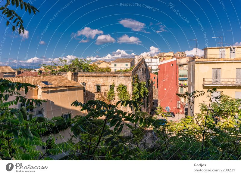 City views Kerkira, Corfu Sky Clouds Grass Bushes Ivy Kérkira Capital city Old town House (Residential Structure) Facade Looking Growth Authentic Blue Brown