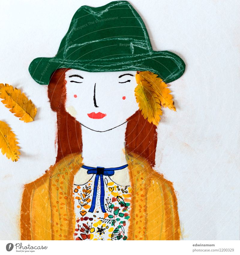 Autumn colors Leisure and hobbies Handicraft Draw Feminine 1 Human being Leaf Accessory Hat Red-haired Paper Relaxation Dream Beautiful Natural Warmth