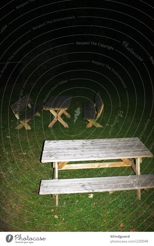 fade to black Garden Furniture Chair Table Grass Wood Dark Sharp-edged Brown Green Black Fear Colour photo Experimental Deserted Night Flash photo Seating