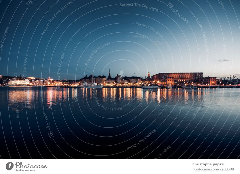 Stockholm blue hour Vacation & Travel Tourism Sightseeing City trip Sweden Town Capital city Downtown Outskirts Old town Skyline Deserted