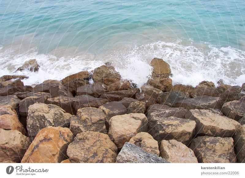 Stones as breakwaters Waves Ocean Break water Reef Coast Beach Water Bay sea noise coastal strip Blue