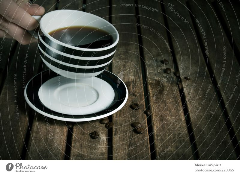 time-out To have a coffee Beverage Drinking Hot drink Coffee Wood Brown Black White Contentment Calm Thirst Coffee cup Coffee break Table Wooden table Hand