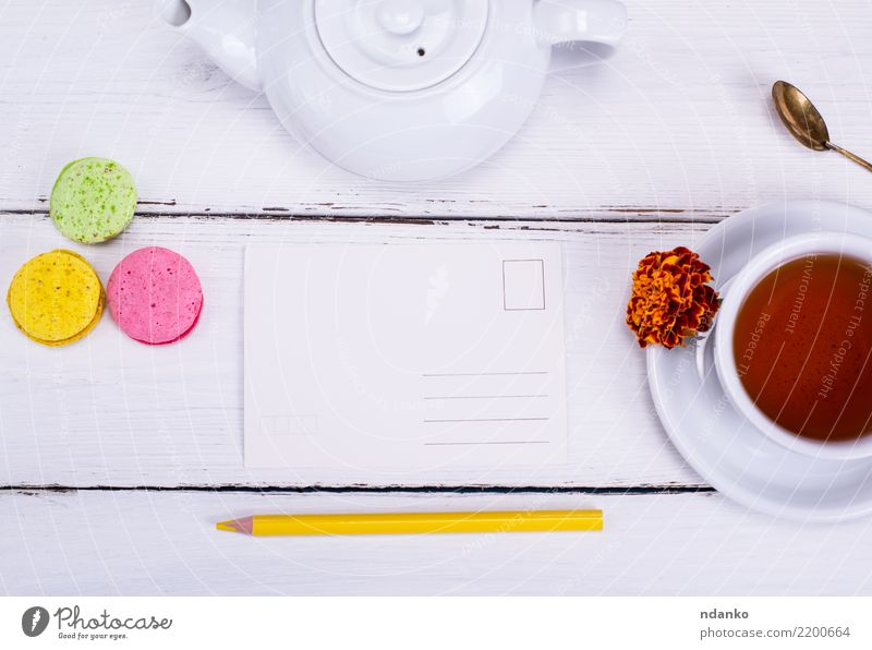 empty paper postcard Nature White Flower Dish Natural Wood Above Fresh Vantage point Beverage Card Hot Breakfast Tradition Cake Tea