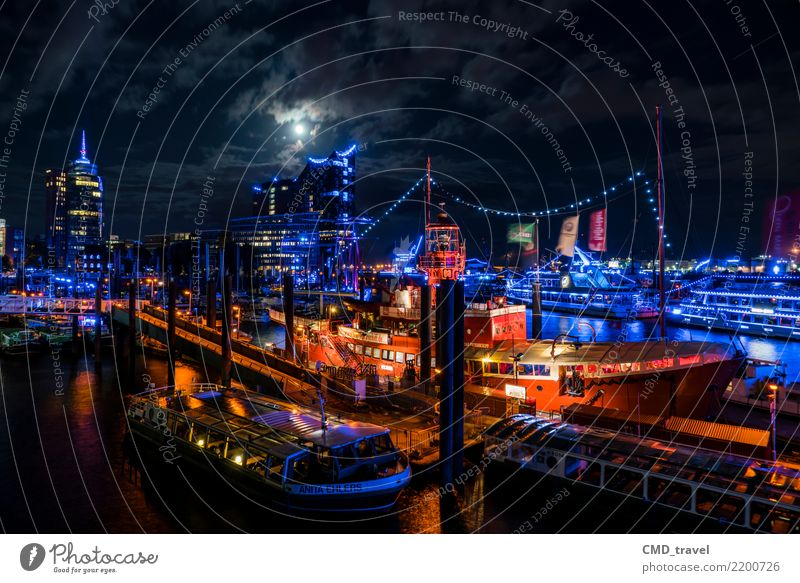 hamburg by night Town Port City Downtown Deserted Tourist Attraction Landmark Monument Elbe Philharmonic Hall Authentic Yellow Red Black Harbour Watercraft Moon