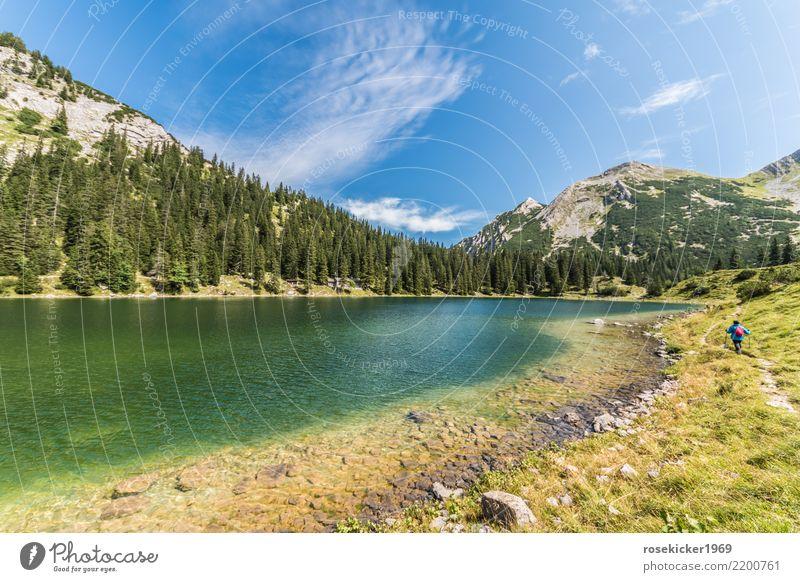 alpine lake Vacation & Travel Trip Adventure Freedom Summer vacation Mountain Hiking Swimming & Bathing Feminine 1 Human being 30 - 45 years Adults Nature