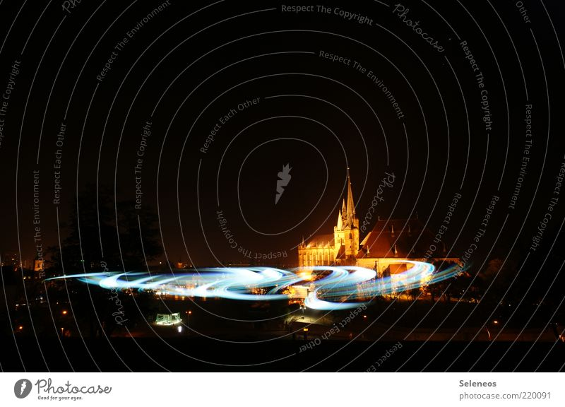 Building Glittering Church Infinity Illuminate Manmade structures Dome Tourist Attraction Light show Old town Flashlight Lamp Long exposure Thuringia Erfurt
