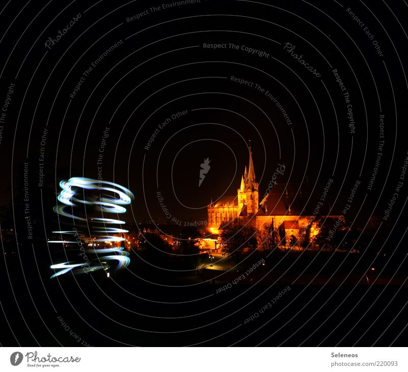 tornado Erfurt Town Old town Skyline Church Dome Manmade structures Building Tourist Attraction Glittering Illuminate Draw Light Visual spectacle Flashlight