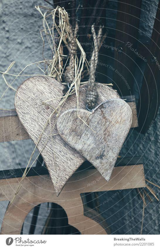 Vintage old rustic wooden hearts close up Design Leisure and hobbies Handicraft Handcrafts Interior design Decoration Feasts & Celebrations Valentine's Day