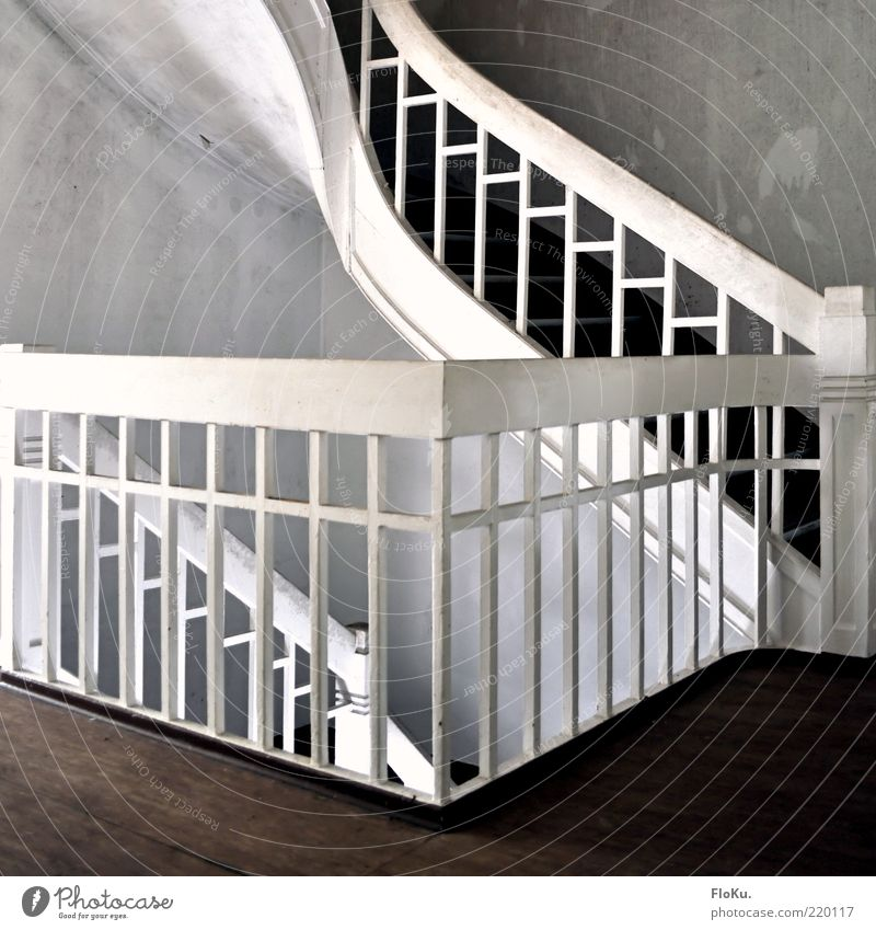 Old White Wall (building) Gray Brown Stairs Derelict Handrail Banister Staircase (Hallway) Wooden floor Uninhabited Run-down