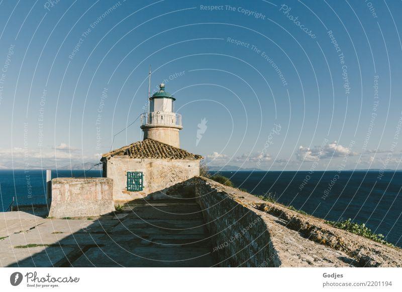 Lighthouse in Old Venetian Fortress, Kérkira Landscape Water Sky Clouds Horizon Beautiful weather Grass Corfu Capital city Deserted