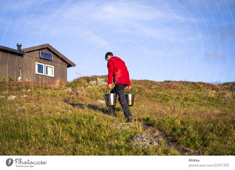 Young man carries bucket of water to a hut, Norway Well-being Youth (Young adults) Nature Sky Beautiful weather Hill Hut Resource Shopping Carrying Simple