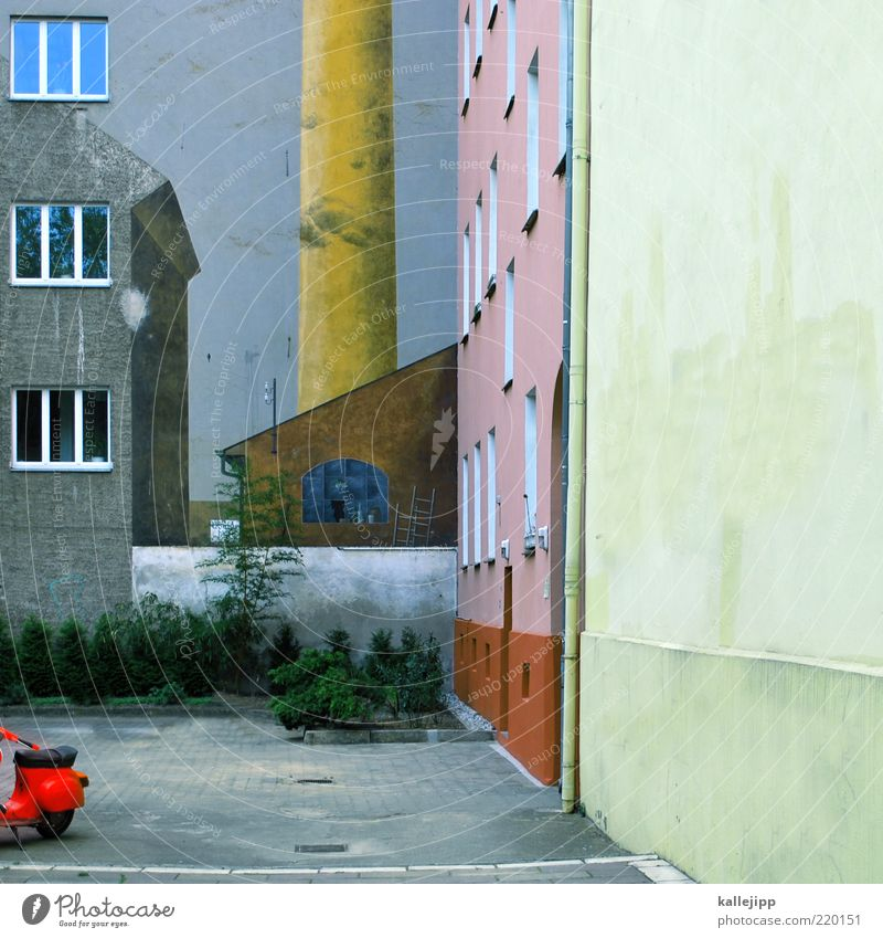 City Window High-rise Facade Industry Factory Bushes Chimney Parking lot Surrealism Scooter Industrial plant Paving stone Settlement Eaves Contrast