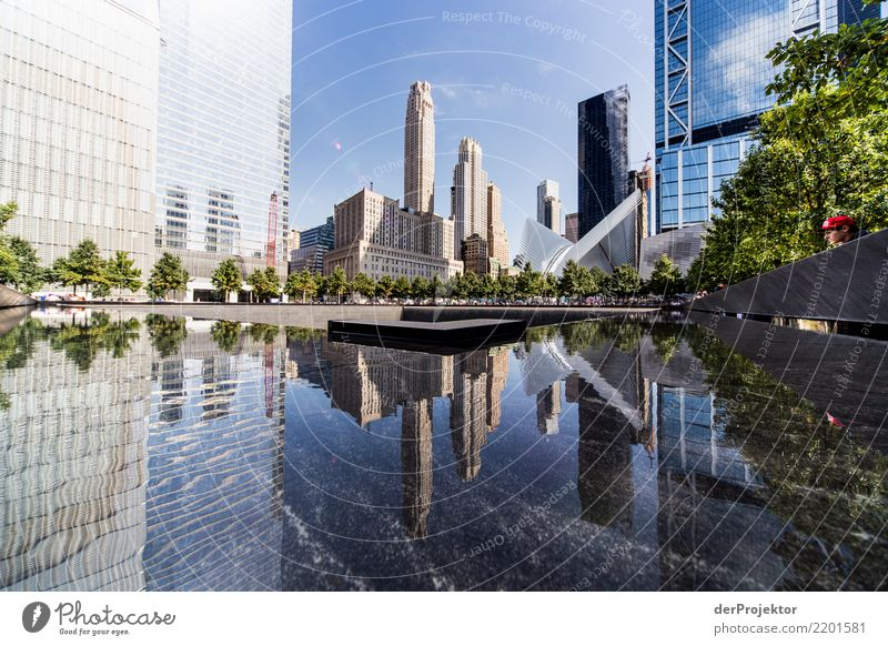 World Trade Center Memorial in New York Central perspective Deep depth of field Sunlight Reflection Contrast Shadow Light Day Copy Space middle Copy Space right