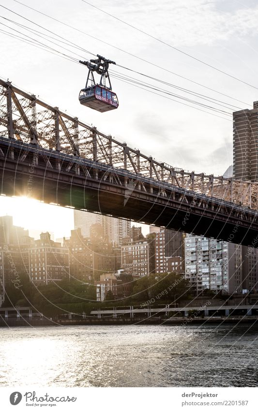 Roosevelt Island Tramway at sunset Vacation & Travel Tourism Trip Adventure Far-off places Freedom Sightseeing City trip River bank Port City High-rise Bridge
