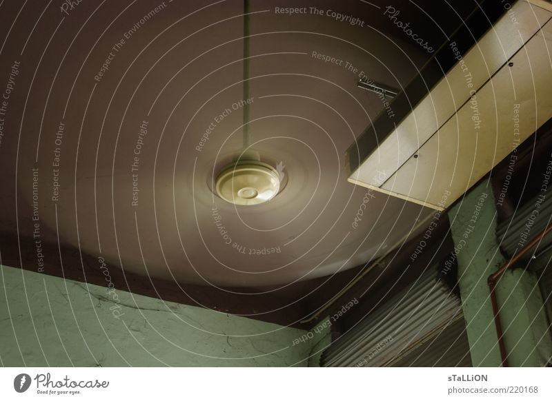 ventilator Ceiling Fan Rotate Brown Green Colour photo Interior shot Deserted Day Motion blur Venetian blinds Corner of the room Worm's-eye view Speed Wind