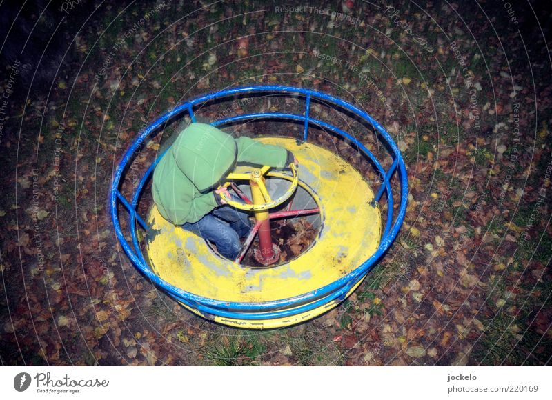 second hand playground Human being Child Infancy 1 3 - 8 years Autumn Playing Beautiful Trashy Emotions Happiness Contentment Whimsical Rotate Toys Playground
