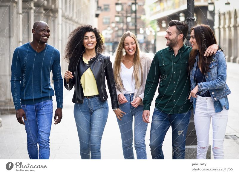 Multi-ethnic group of young people having fun together Woman Man Summer Beautiful Joy Adults Street Lifestyle Laughter Happy Group Together Friendship Smiling