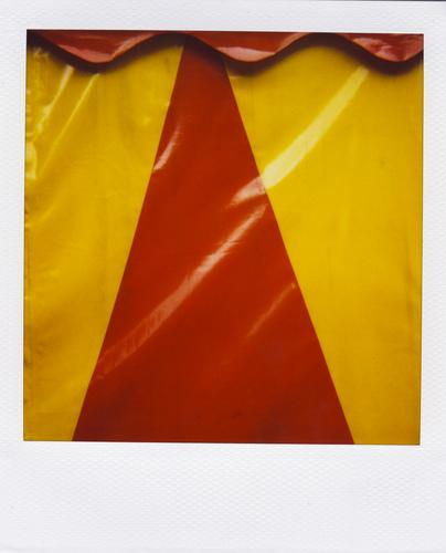 triangle with wave course Event Fairs & Carnivals Tent Stripe Glittering Retro Yellow Red White Colour Center point Arrangement Symmetry Tarpaulin Circus tent