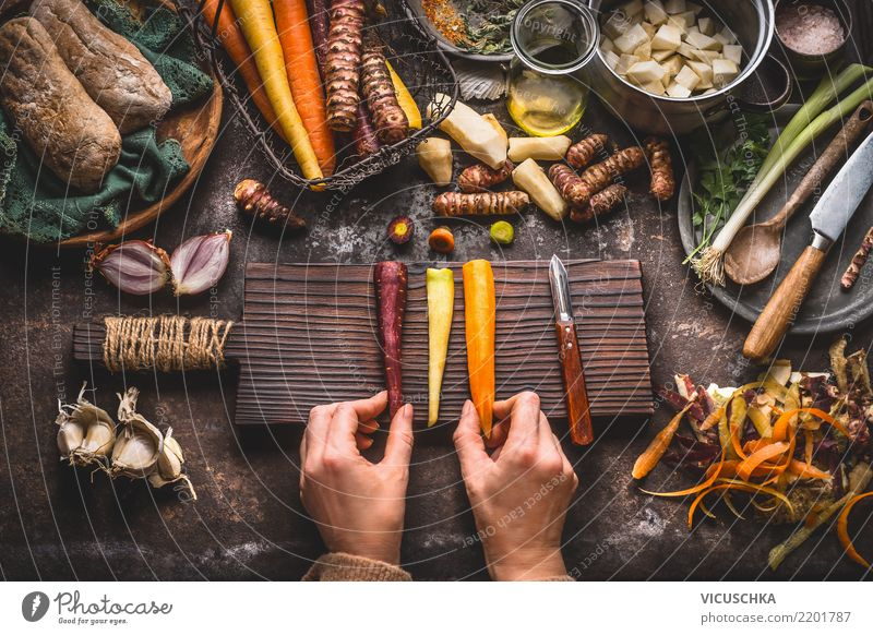 Cook root vegetables Food Vegetable Herbs and spices Nutrition Lunch Dinner Organic produce Vegetarian diet Diet Crockery Plate Bowl Knives Style Design Healthy
