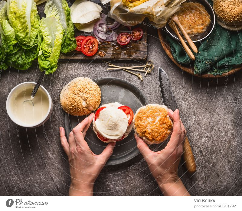 Female hands make burgers Food Meat Vegetable Nutrition Fast food Crockery Style Design Living or residing Table Kitchen Restaurant Feminine Hand