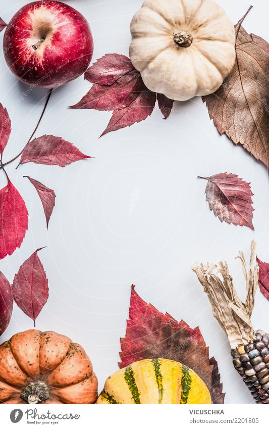 Autumn background with colorful pumpkin, apples and autumn leaves Style Design Life Garden Thanksgiving Hallowe'en Nature Leaf Decoration Ornament Retro