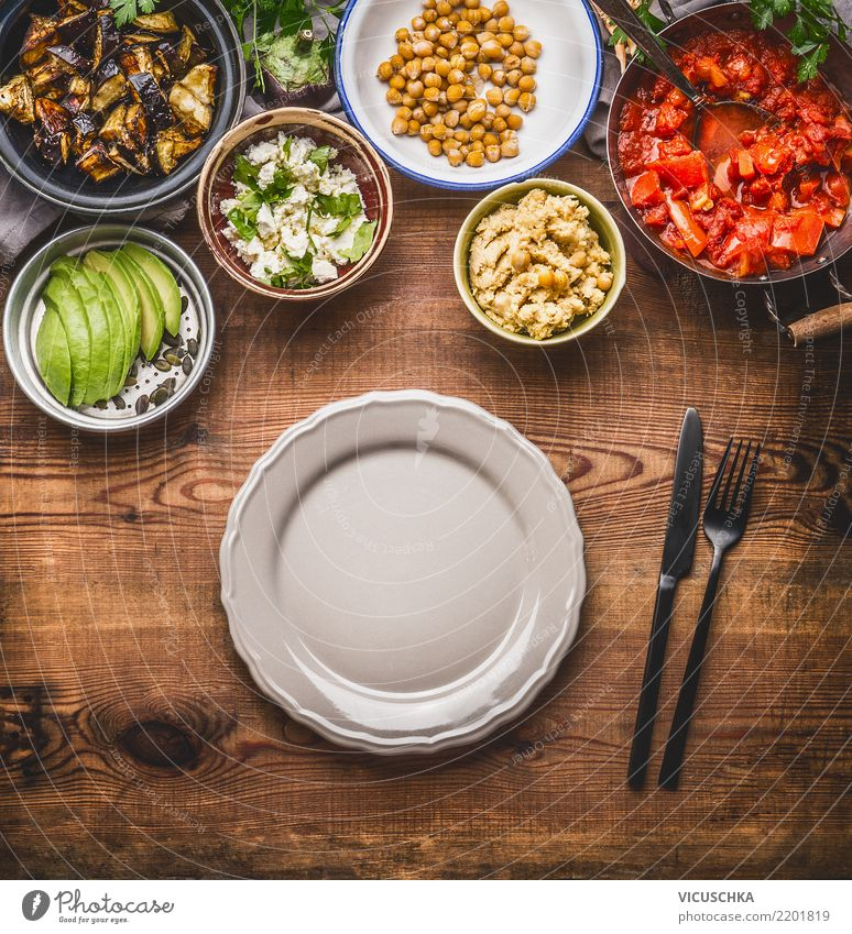 Empty plate with cutlery and salad buffet Food Vegetable Lettuce Salad Nutrition Lunch Organic produce Vegetarian diet Diet Crockery Plate Cutlery Style Design