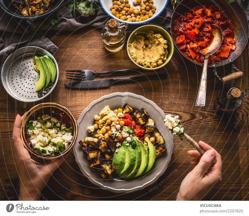 Women hands served healthy vegetarian meal Food Vegetable Lettuce Salad Nutrition Lunch Organic produce Vegetarian diet Diet Crockery Plate Cutlery Lifestyle