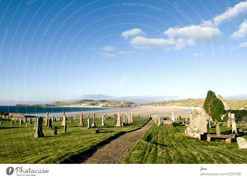 Old Sky Ocean Summer Beach Calm Far-off places Grass Stone Lanes & trails Landscape Coast Trip Church Lawn Bay