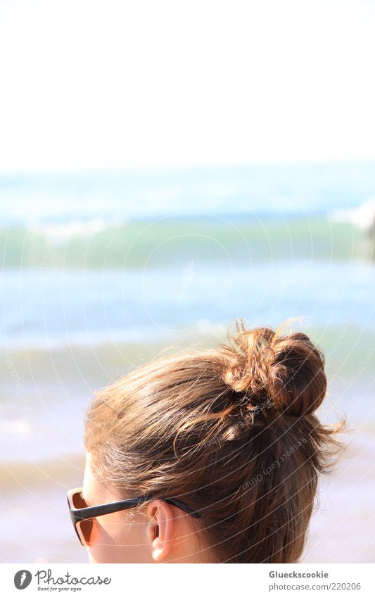 Human being Youth (Young adults) White Blue Summer Beach Vacation & Travel Ocean Relaxation Head Hair and hairstyles Brown Waves Glittering Ear Longing