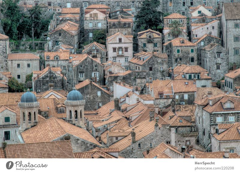 Beautiful Old City Red Gray Esthetic Vantage point Authentic Roof Croatia Historic HDR Tourist Attraction Old town Roofing tile House (Residential Structure)