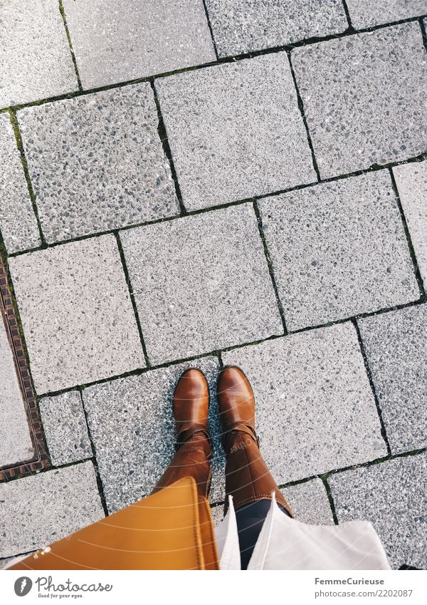 Woman Human being Youth (Young adults) Young woman 18 - 30 years Adults Lifestyle Feminine Style Brown Elegant Shopping Footpath To go for a walk Boots Leather