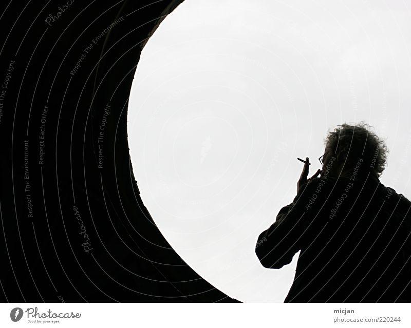 Human being Man Adults Relaxation Window Bright Wait Masculine Circle Stand Break Smoking Illness Serene Tunnel Moon