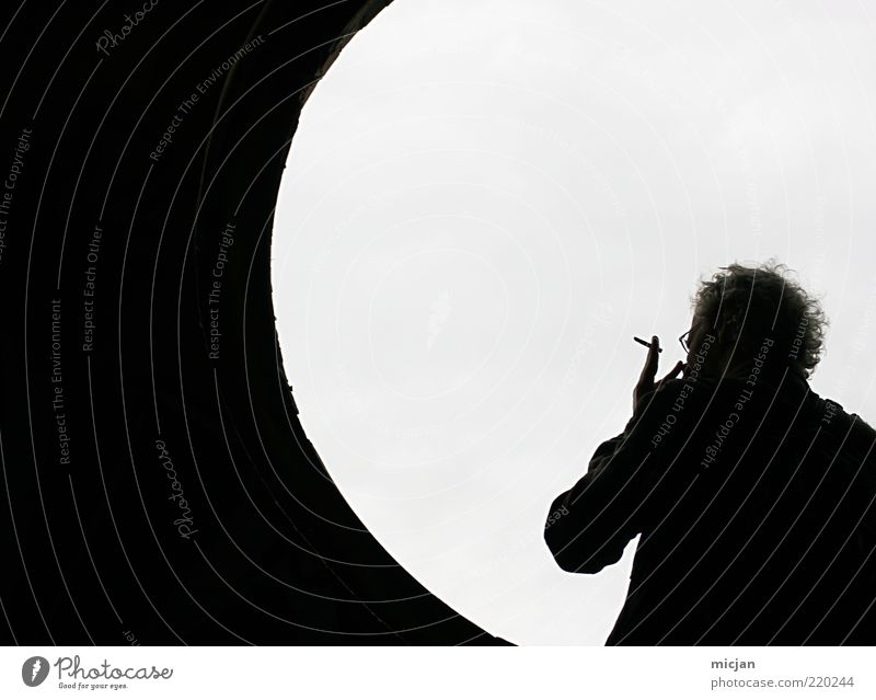 Smokey Moon Wasting Time Masculine Man Adults 1 Human being Smoking Serene Contrast Contour Window Circle Bright Tunnel Relaxation Break Wait Cigarette break