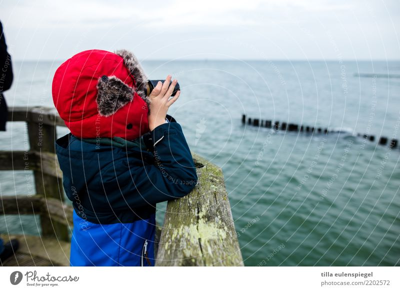 Little explorer Leisure and hobbies Vacation & Travel Tourism Trip Far-off places Sightseeing Expedition Ocean Winter Masculine Child Boy (child) Infancy Life 1