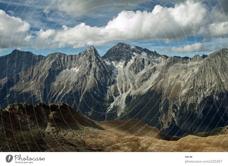 Blue Summer Calm Clouds Loneliness Far-off places Autumn Mountain Brown Environment Vantage point Alps Longing Idyll Peak Elements