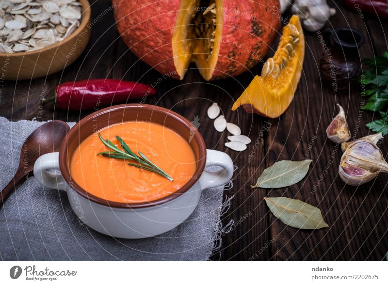 pumpkin soup Nature Red Dish Eating Yellow Autumn Wood Decoration Fresh Table Herbs and spices Vegetable Seasons Harvest Hot Organic produce