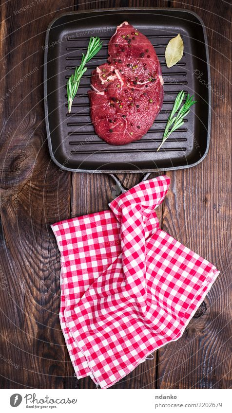 raw beef steak with spices Red Black Wood Brown Above Fresh Table Kitchen Dinner Meat Meal Cooking Blood Cut Raw Ingredients