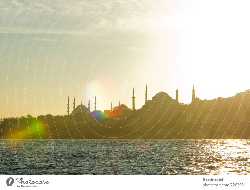 Ocean City Building Coast Church Travel photography Skyline Manmade structures Turkey Tourist Attraction Istanbul Domed roof Lens flare Blue Mosque Minaret