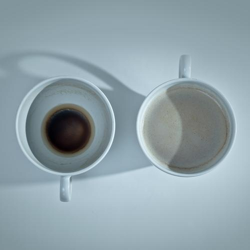 OFF-ON Hot drink Coffee Cup Dirty Thirst Change Coffee cup Side by side Empty Full Old New Fresh on-off Above lookup Foam crema Coffee grounds from 2 Contents