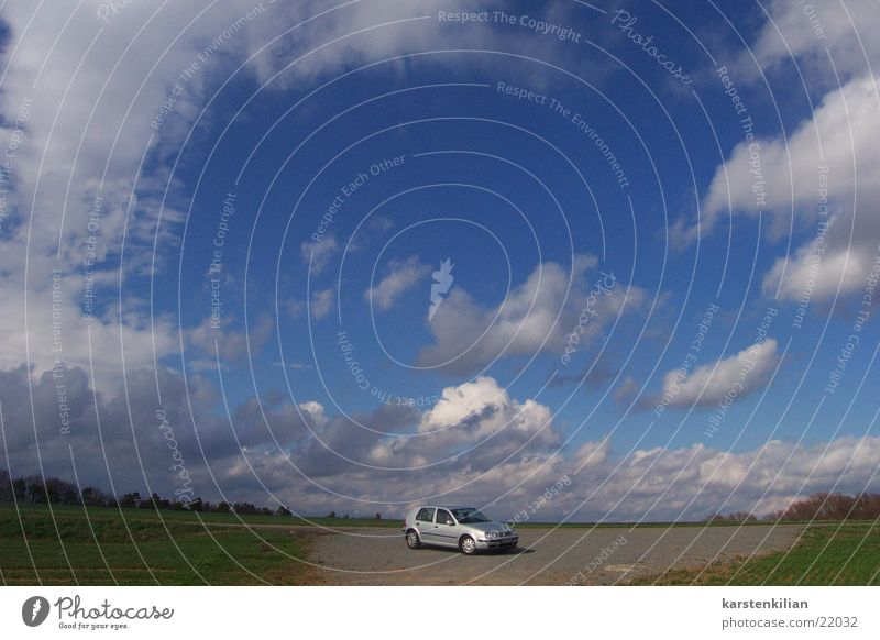 Sky Clouds Car Small Transport Firmament Halfway