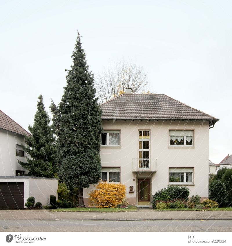 residential area Sky Plant Tree Bushes Garden House (Residential Structure) Detached house Manmade structures Building Architecture Facade Balcony Window Door
