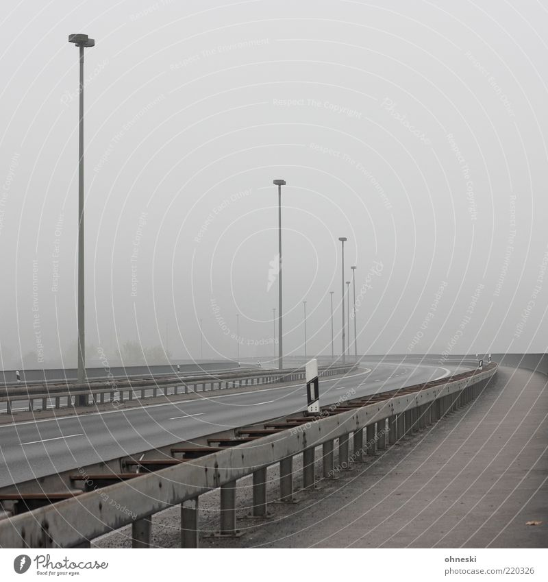 Vacation & Travel Loneliness Street Gray Fog Transport Empty Perspective Climate Highway Traffic infrastructure Street lighting Smog Roadside Morning Misty atmosphere