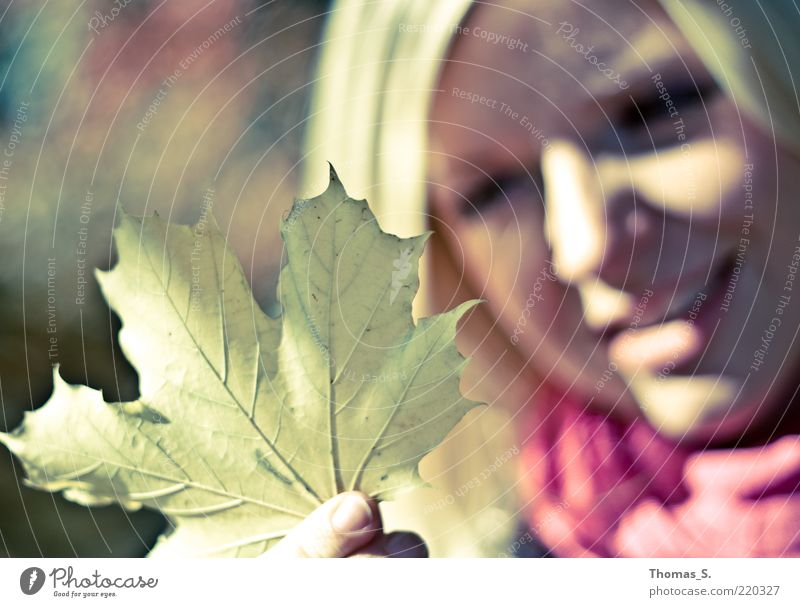 Woman Human being Youth (Young adults) Plant Calm Leaf Autumn Feminine Emotions Happy Head Contentment Adults Perspective Near Curiosity