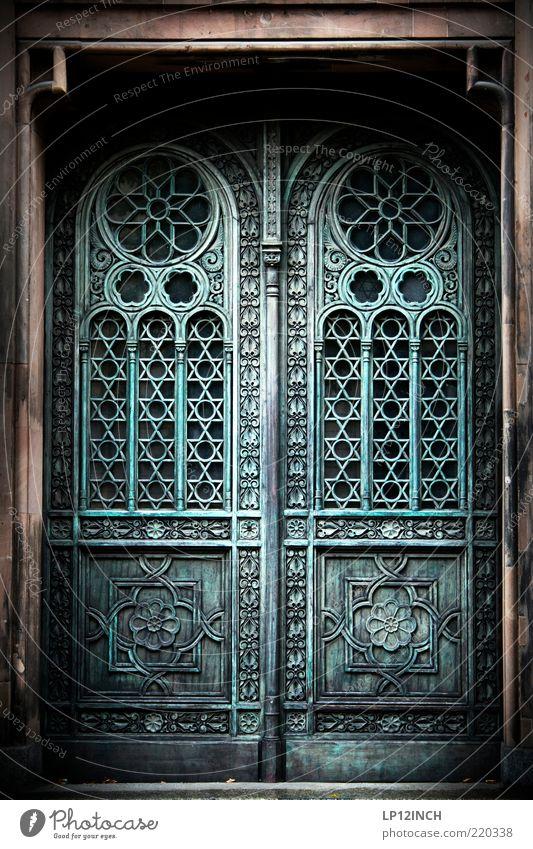Old Blue Gray Building Door Closed Historic Entrance Museum Ornament Religion and faith Curlicue Judaism Portal Front door Wooden door