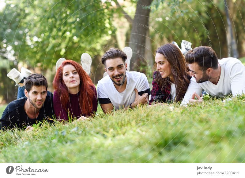 Group of young people together outdoors in urban park Woman Man Summer Beautiful Joy Adults Street Lifestyle Autumn Spring Laughter Happy Together Friendship
