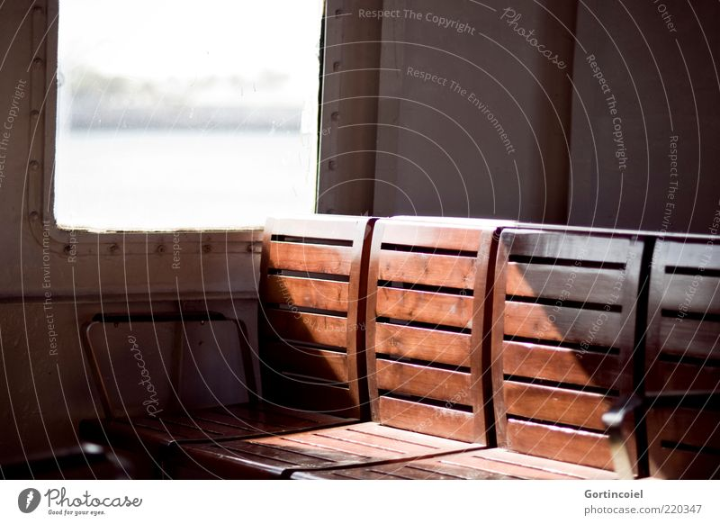 on the ferry Navigation Ferry On board Brown Seating Bench Colour photo Light Shadow Sunlight Wood Wooden bench Deserted Blur Day