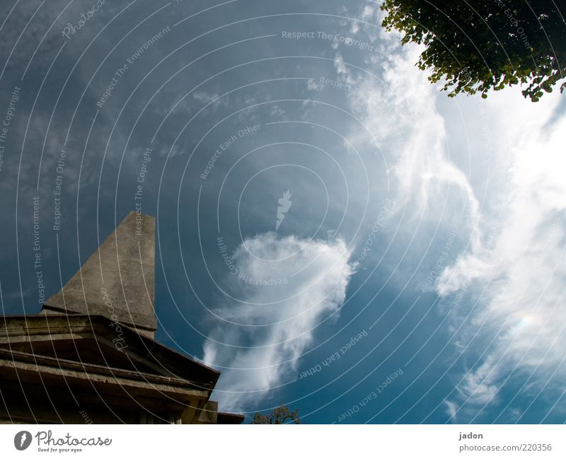 pointing up. Sky Clouds Stone Thin Blue White Stele Exterior shot Copy Space middle Day Worm's-eye view Monolith Upward Vertical Skyward Clouds in the sky